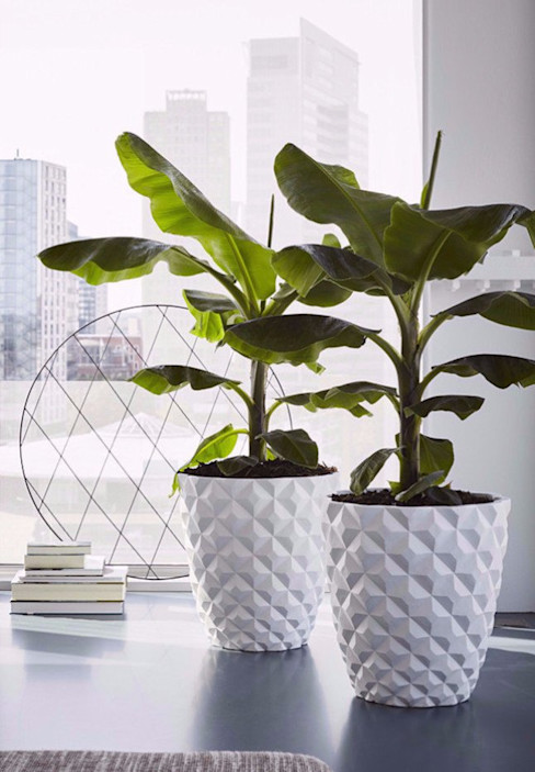 Heraldry Large White Modern Indoor Planter Artificial Green Interior landscaping White