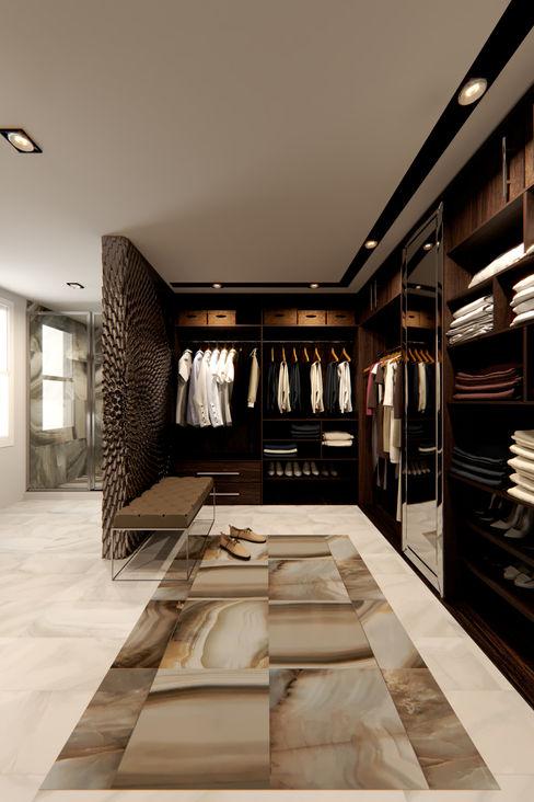 Render Propuesta--Baño-Closet vestidor. MIRARQPERSPECTIVAS Baños modernos Cerámico Ámbar/Dorado