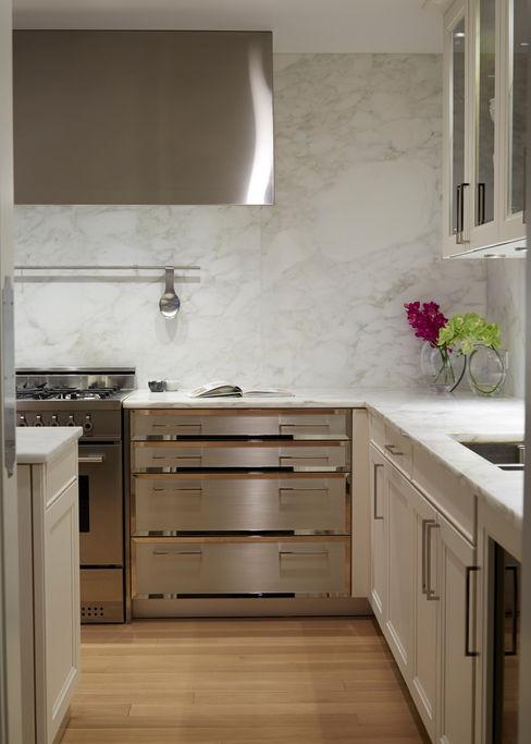 New York City Family Home JKG Interiors Classic style kitchen Marble White