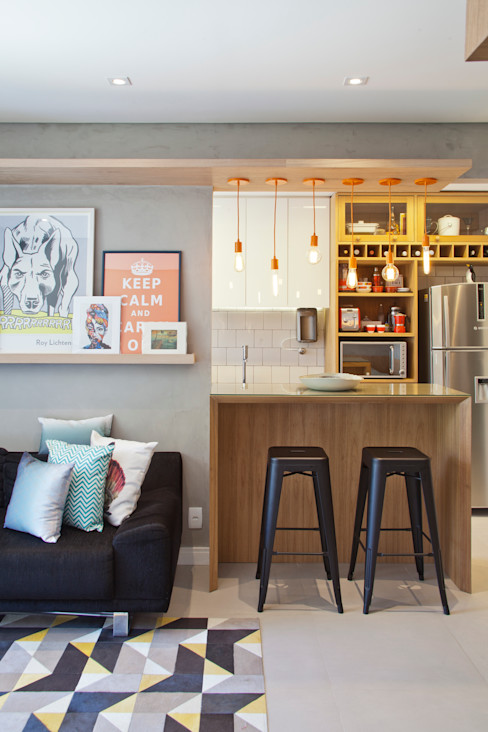 PKB Arquitetura 现代客厅設計點子、靈感 & 圖片