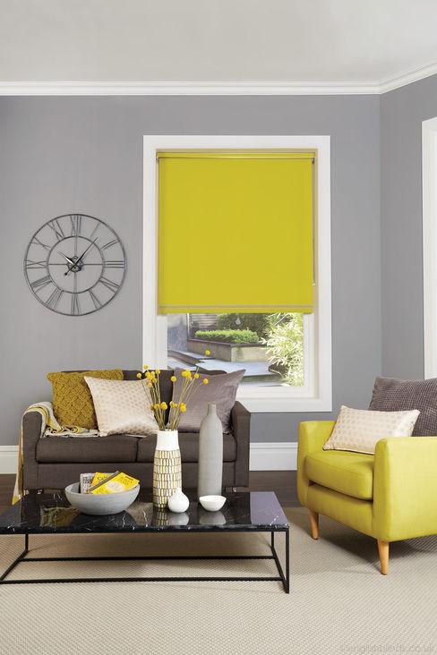 Vibrant Yellow Blackout Roller Blinds English Blinds SalonesAccesorios y decoración Textil Amarillo