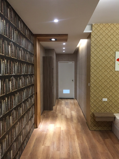 homify Rustic style corridor, hallway & stairs MDF Brown