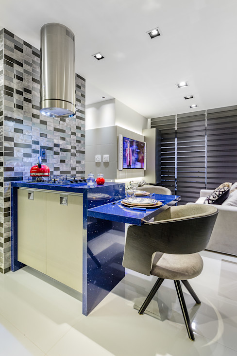 Ilha Gourmet homify Armários e bancadas de cozinha Pedra Azul
