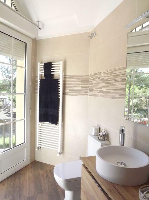 Reforma baño contemporáneo Almudena Madrid Interiorismo, diseño y decoración de interiores Baños modernos Cerámico Beige