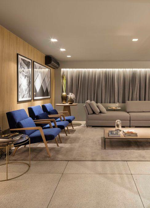 Living Traama Arquitetura e Design Salas de estar modernas MDF Efeito de madeira