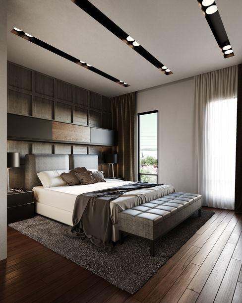 Recámara Adriel Padilla Arquitectos Dormitorios modernos Madera Gris