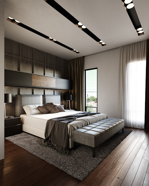 Adriel Padilla Arquitectos Modern style bedroom Wood Grey