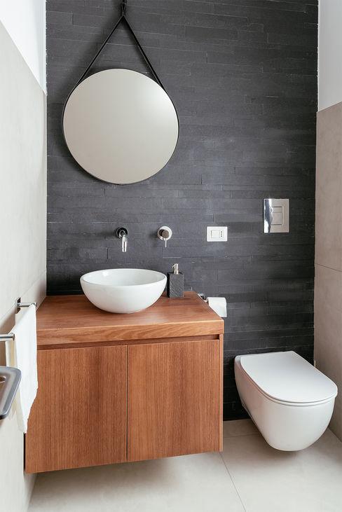 Bagno Ospiti manuarino architettura design comunicazione Bagno minimalista Ardesia Nero