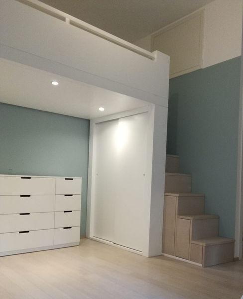 progetto di arredo di un monolocale con letto a soppalco Arch. Marzia Filatrella Casa unifamiliare