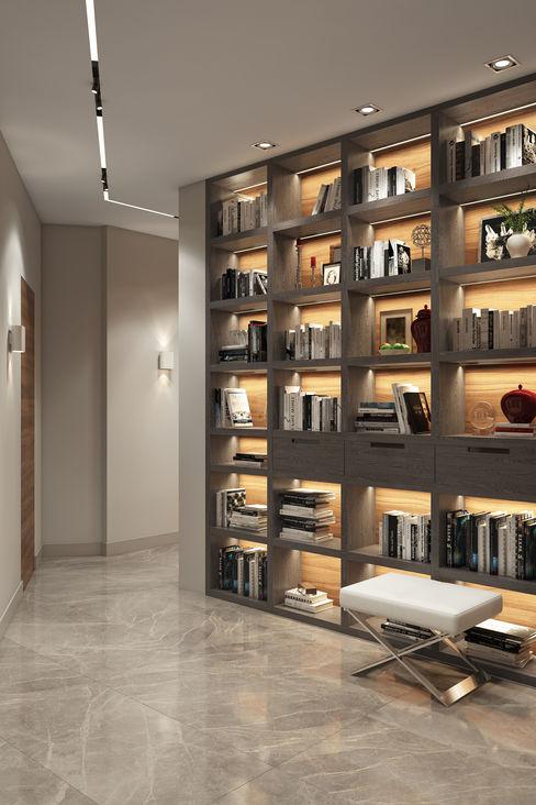 Фьюжн на Заозёрной FISHEYE Architecture & Design Коридор, прихожая и лестница в модерн стиле