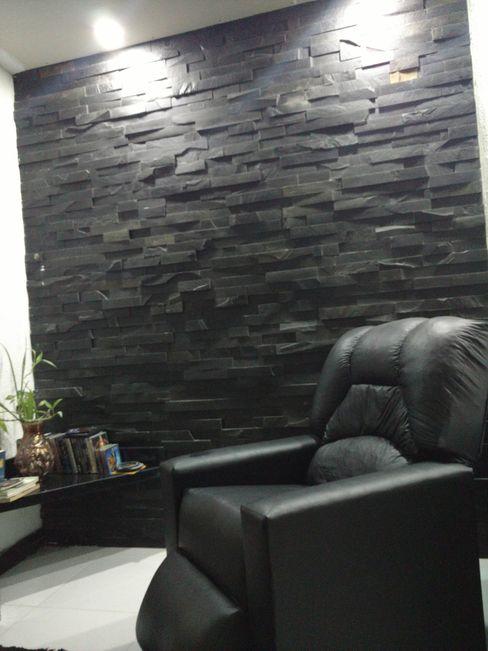 Rebello Pedras Decorativas Modern media room Stone Black