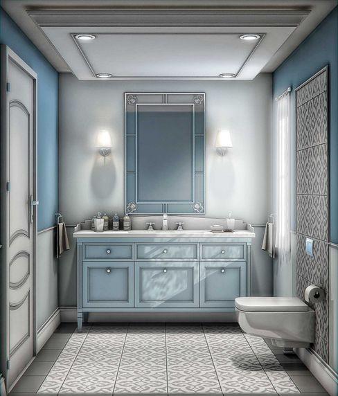 Soft renklerin kullanımı ANTE MİMARLIK Modern Banyo