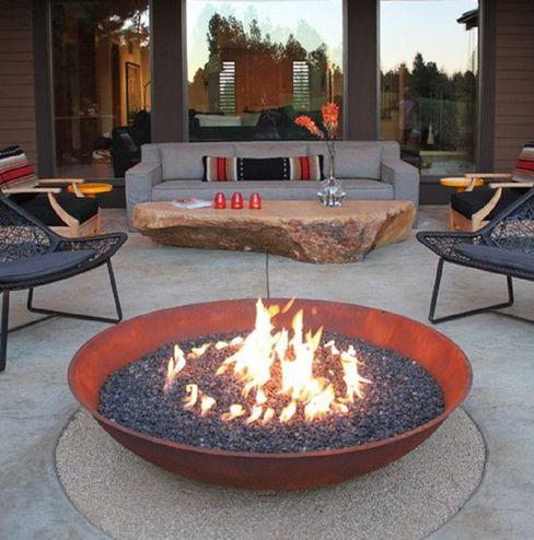 Fire Bowl a gas Grupo Cinco Chimeneas Balcones y terrazasAccesorios y decoración Hierro/Acero Metálico/Plateado
