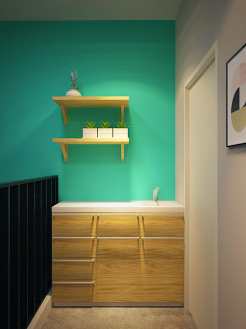 Office space karawaci Dwello Design Ruang Studi/Kantor Gaya Industrial