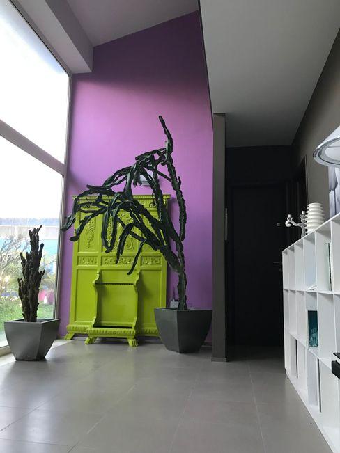 MEF Architect Pasillos, vestíbulos y escaleras de estilo ecléctico Madera Rosa