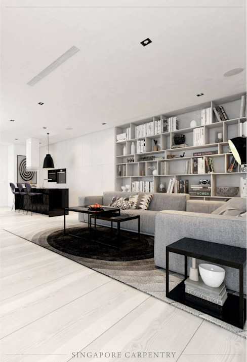 French contemporary style at Duxrton Singapore Carpentry Interior Design Pte Ltd Country style living room