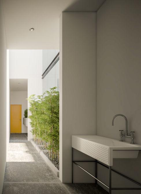 SERVICE HALL Studio17-Arquitectura Pasillos, vestíbulos y escaleras minimalistas Amarillo