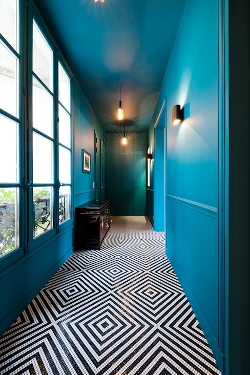 Entrée/Couloir Catalina Castro Blanchet Couloir, entrée, escaliers originaux Bleu