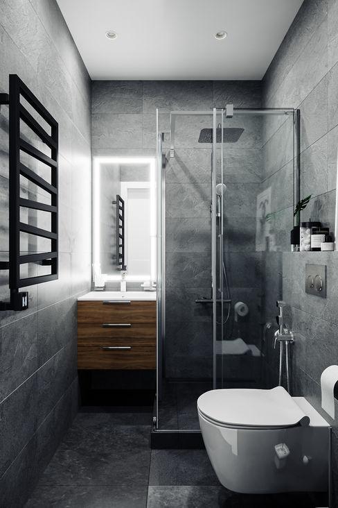 Студия архитектуры и дизайна Дарьи Ельниковой Phòng tắm phong cách tối giản