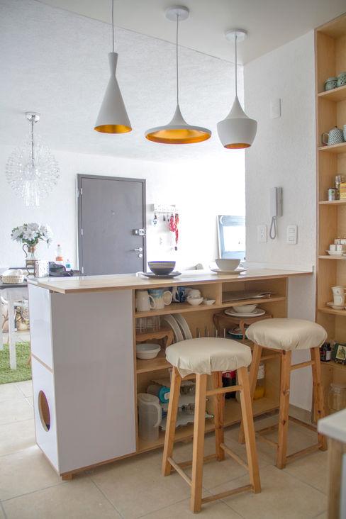 Desayunador con Almacenaje RUMMI Muebles de cocinas Contrachapado Blanco
