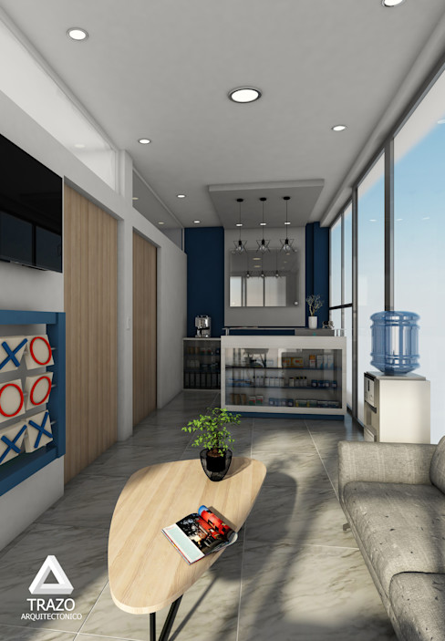 Recepción Trazo Arquitectonico Pasillos, vestíbulos y escaleras minimalistas Azul