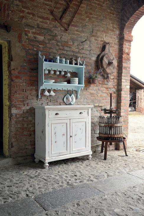 Credenza con mensole shabby chic Idea Stile Cucina in stile scandinavo Legno massello Bianco