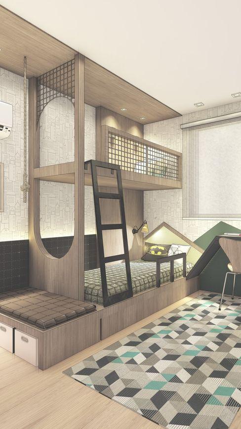 Dormitório com beliche - Infantil Daniela Manosso Bampi - Arquitetura Inteligente Quartos dos meninos Madeira Verde