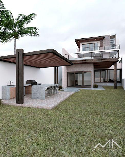 Casa ER MA Arquitectura Jardines modernos Madera Blanco