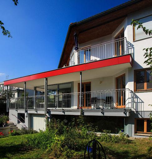 Südansicht - Wintergarten nach dem Umbau archipur Architekten aus Wien Einfamilienhaus Ziegel Weiß