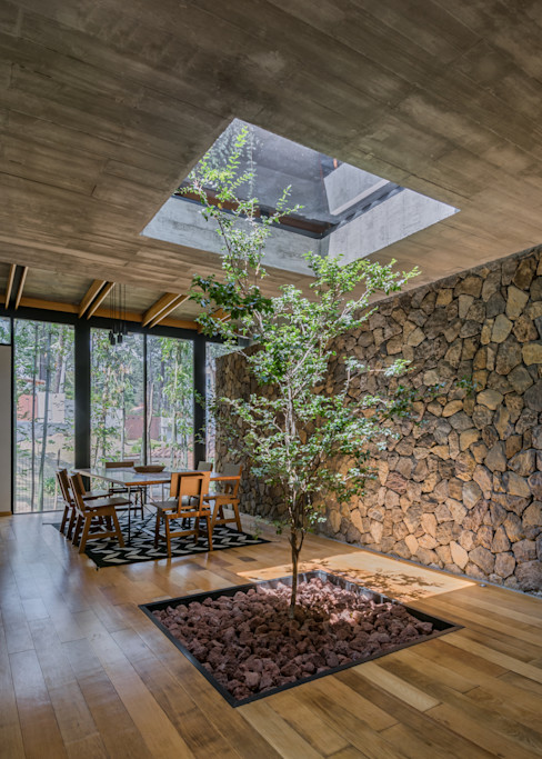Saavedra Arquitectos Modern dining room Concrete Grey
