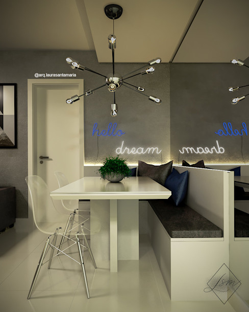 Sala de jantar/estar para casal jovem Laura Santa Maria Arquitetura Salas de jantar industriais
