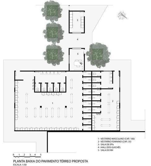 Planta baixa humanizada dos vestiários masculino e feminino propostos MILWARD ARQUITETURA Banheiros modernos