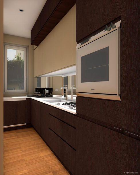 Render di una cucina in ristrutturazione - prima vista CLARE studio di architettura Cucina piccola