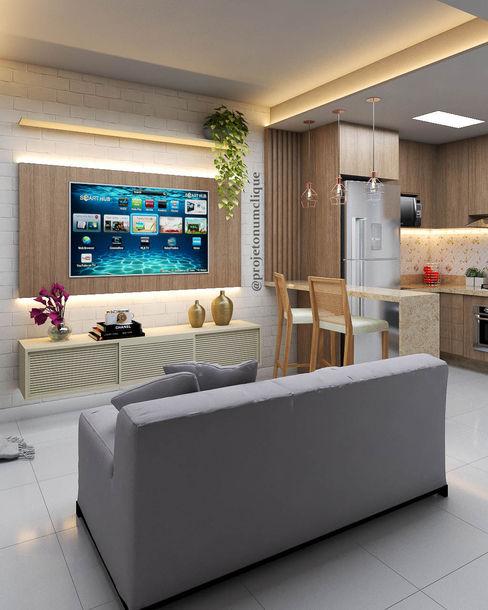Ambiente Integrado Projeto num clique Salas de estar modernas