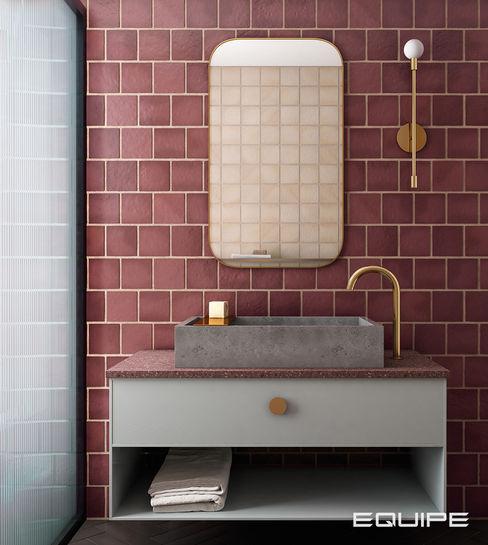 Equipe Ceramicas Industrial style bathroom Tiles Red