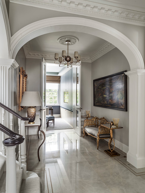 Carlton Hill, Entrance Hallway Roselind Wilson Design Classic style corridor, hallway and stairs