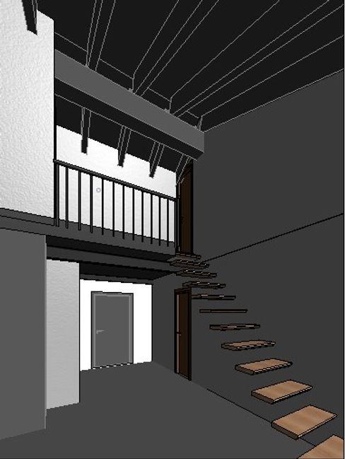 Metodología #BIM: Vista interior del mismo espacio, generada digitalmente durante el proceso de trabajo OCTANS AECO Escaleras