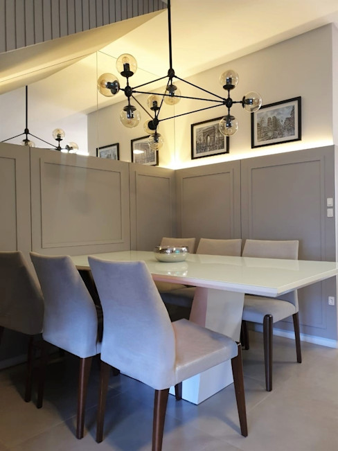 Sala de jantar Larissa Minatti Interiores Salas de jantar minimalistas Cinza