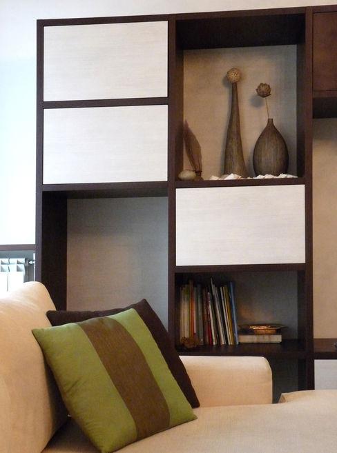 Dettaglio mobile sala Studio Zay Architecture & Design Soggiorno moderno Legno Bianco