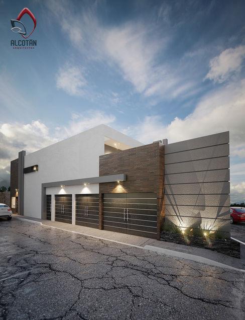 FACHADA ALCOTÁN Arquitectos Casas unifamiliares Madera Blanco