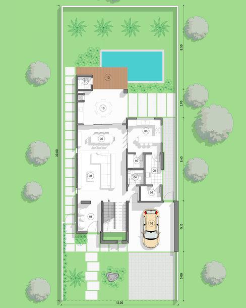 Planta Baixa - Térreo Aux Arquitetura Casas modernas
