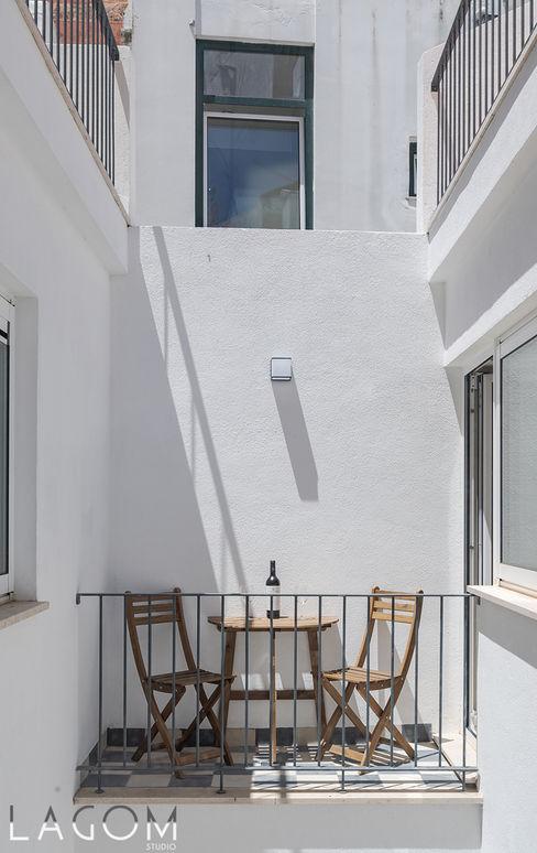 Fachada posterior Lagom studio Hotéis escandinavos Madeira Branco