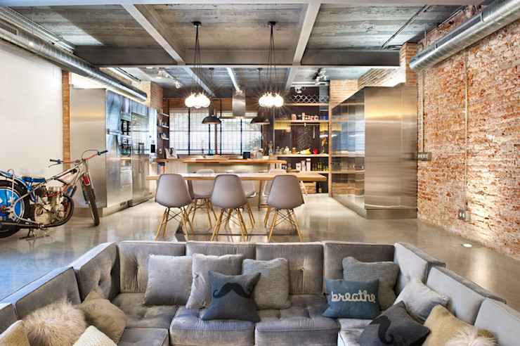 Bajo comercial convertido en loft (Terrassa) Egue y Seta Salones rústicos de estilo rústico