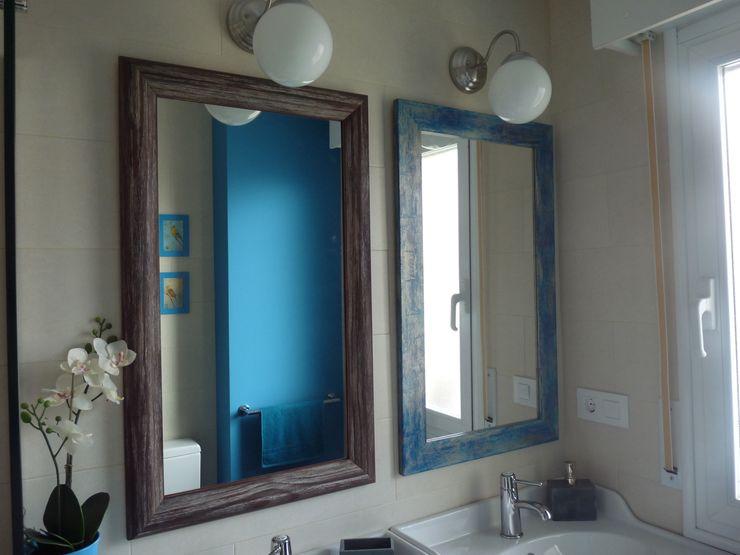 Reforma de baño: azul turquesa y baldosas impresas de mosaico hidráulico Dec&You Baños de estilo ecléctico