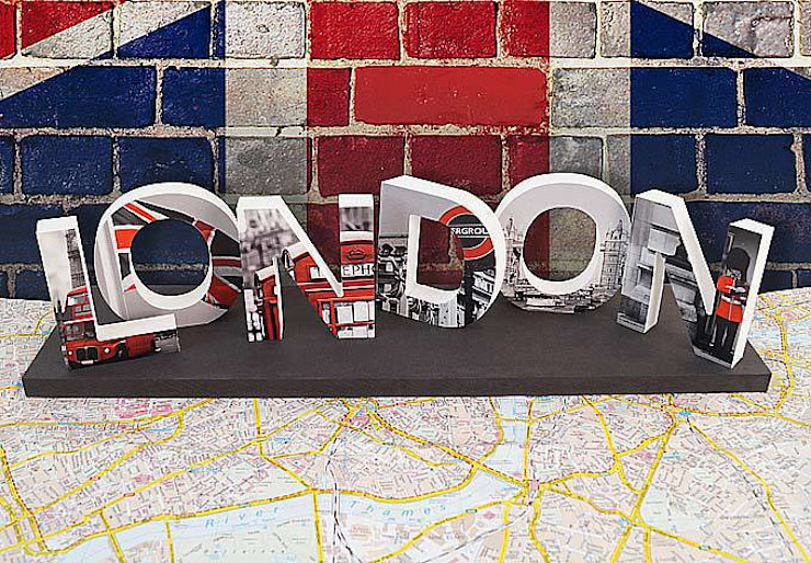 Dekobuchstaben - 3D LONDON bedruckt K&L Wall Art WohnzimmerAccessoires und Dekoration