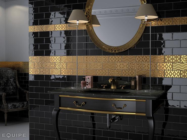 Masia Negro, Decor Jewel Gold 7,5x15 homify Baños de estilo rústico Cerámico