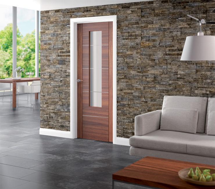 Portici Walnut Glazed Door Modern Doors Ltd Finestre & PortePorte Legno composito Effetto legno