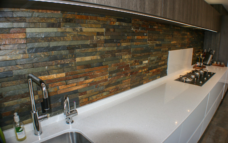White Gloss & Latte Oak Creative Designs 現代廚房設計點子、靈感&圖片