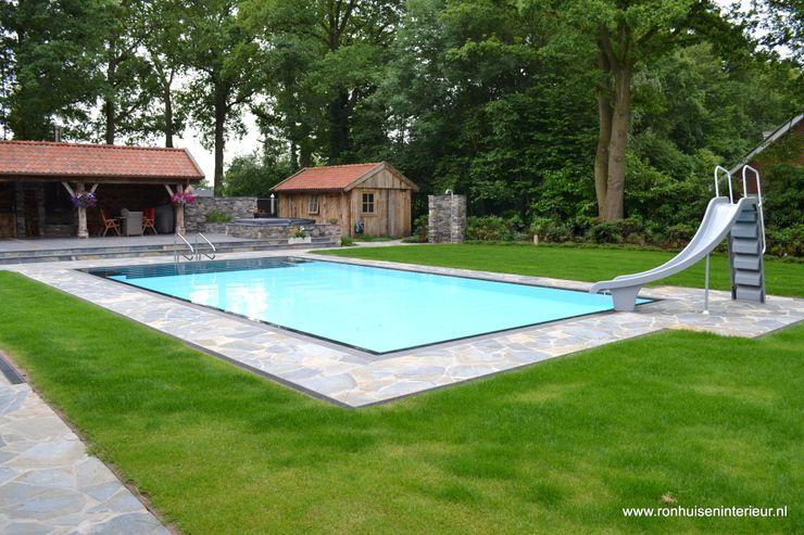 Pool garden RON Stappenbelt, Interiordesign Rustic style pool