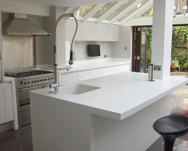 White gloss kitchen Greengage Interiors Modern Kitchen MDF White